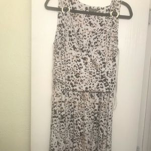 Animal print maxi dress, white, black & tan